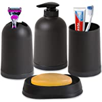 Smile Mom Bathroom Accessories Set (4 Piece) with Soap Dish, Toothbrush Holder, Liquid Bottle Dispenser, Tumbler; Best Decor for Home Toilet Kitchen (Black)