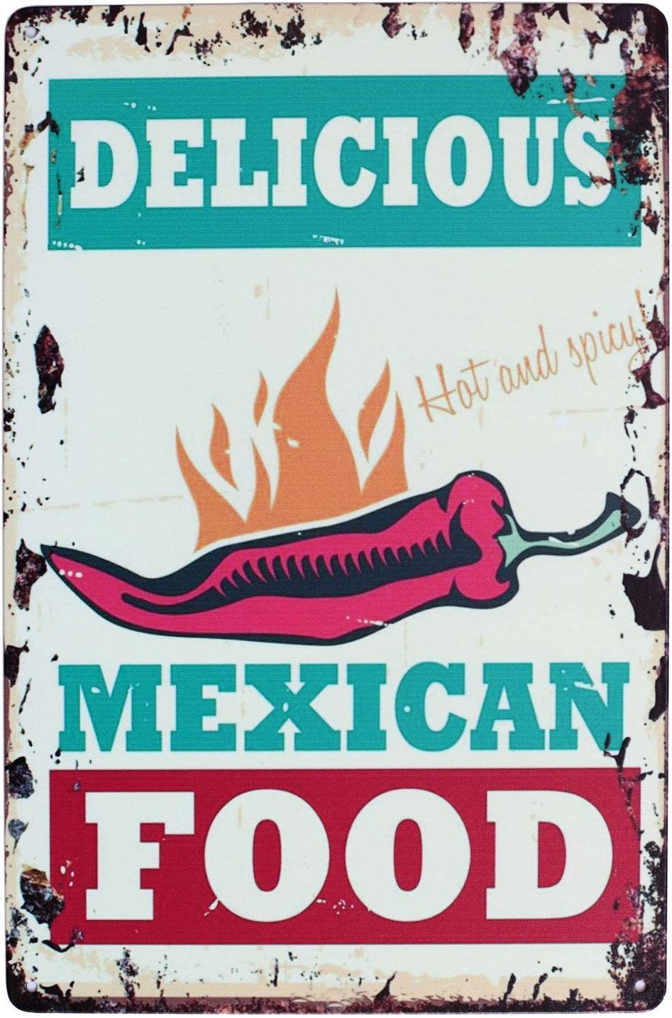 UOOPAI Delicious Food Mexican Hot Chili Vintage Metal Sign