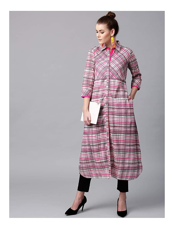 447ad085fcdc1 Amazon.com: Hiral Designer Kurti Kurta For Women Women Pink & Off ...