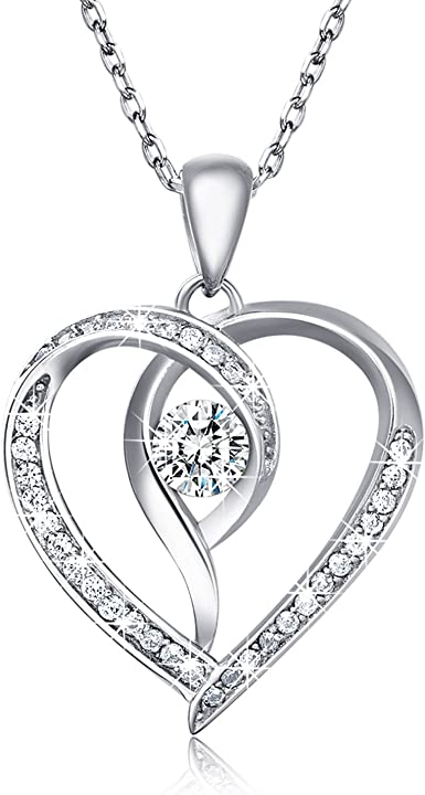 925 Sterling Silver Natural Crystal Love Heart Pendant Necklace Charm Jewelry