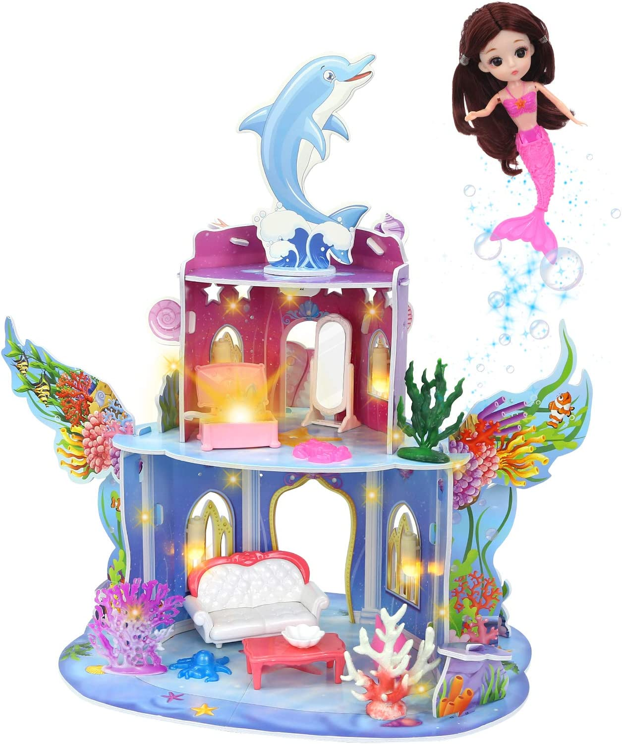 Dollhouse, Playset Two-Story Mermaid Cottage Doll House with Furniture & Accessories Kit for Girls, Indoor DIY Dream Playhouse with Doll for Kids