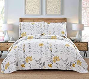 Flower Quilt Set Queen/Full Size Summer Bedspread Plant Quilt Leaves Floral Bed Set Vintage Yellow Floral Bedspread Lightweight Reversible Garden Quilt Coverlet 90