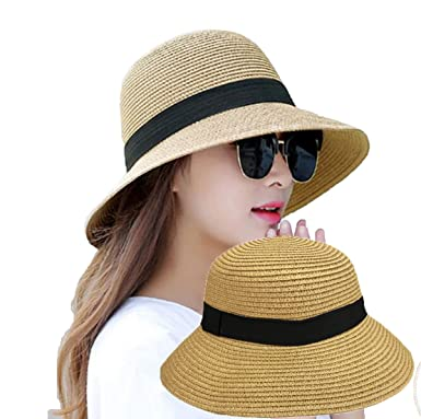 3b9ebcca Womens Straw Hat Floppy Foldable Roll up Summer Beach Cap Sun Hat UPF 50+  (Color-1) at Amazon Women's Clothing store: