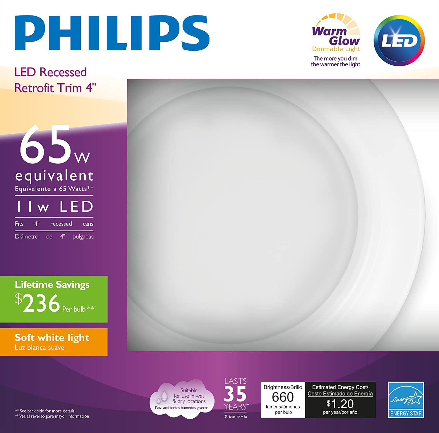 """Philips 801043 LED Downlight 50W Dim Warm Glow 4"""" 1pk 50 Watt Equivalent 4 in. Dimmable Soft White Effect, 4 4 Philips (PHIBN)"""