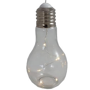 Anna Store Modelos ánimo lámpara Bombilla Cristal H 18,5 cm Blanco cálido ánimo Bombilla Lámpara LED Cadena de Luces LED, Funciona con Pilas: Amazon.es: ...