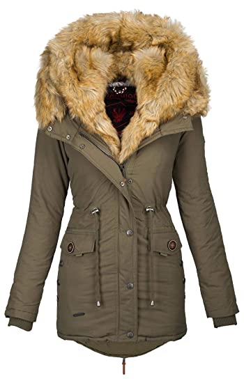 Navahoo 2in1 Damen Winter Jacke Parka Mantel Winterjacke warm Fell B365