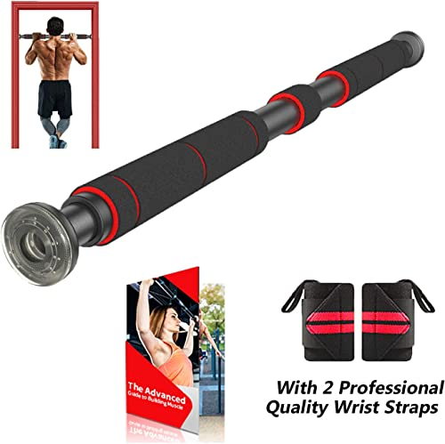 AmazeFan Pull Up Bar for Doorway Chin-Up Bar with Extended Hand Grips – 2 Professional Quality Wrist Straps, Trainer for Home Gym Exercise,26 to 39 Inches Adjustable Length