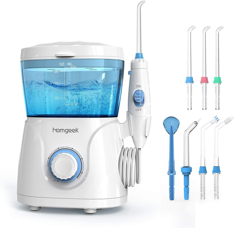 Upgrade Water Flosser, 600ML Water Flosser Teeth Cleaner for Family, Homgeek Anti Leakage Dental Water Flosser Oral Irrigator 10 Adjustable Pressure with 7 Multifunctional Tips (600ML): Health & Personal Care