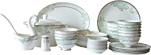 LU YUN Sets of tableware, bowls, plates, 50 pieces, Christmas gifts,White and light blue.