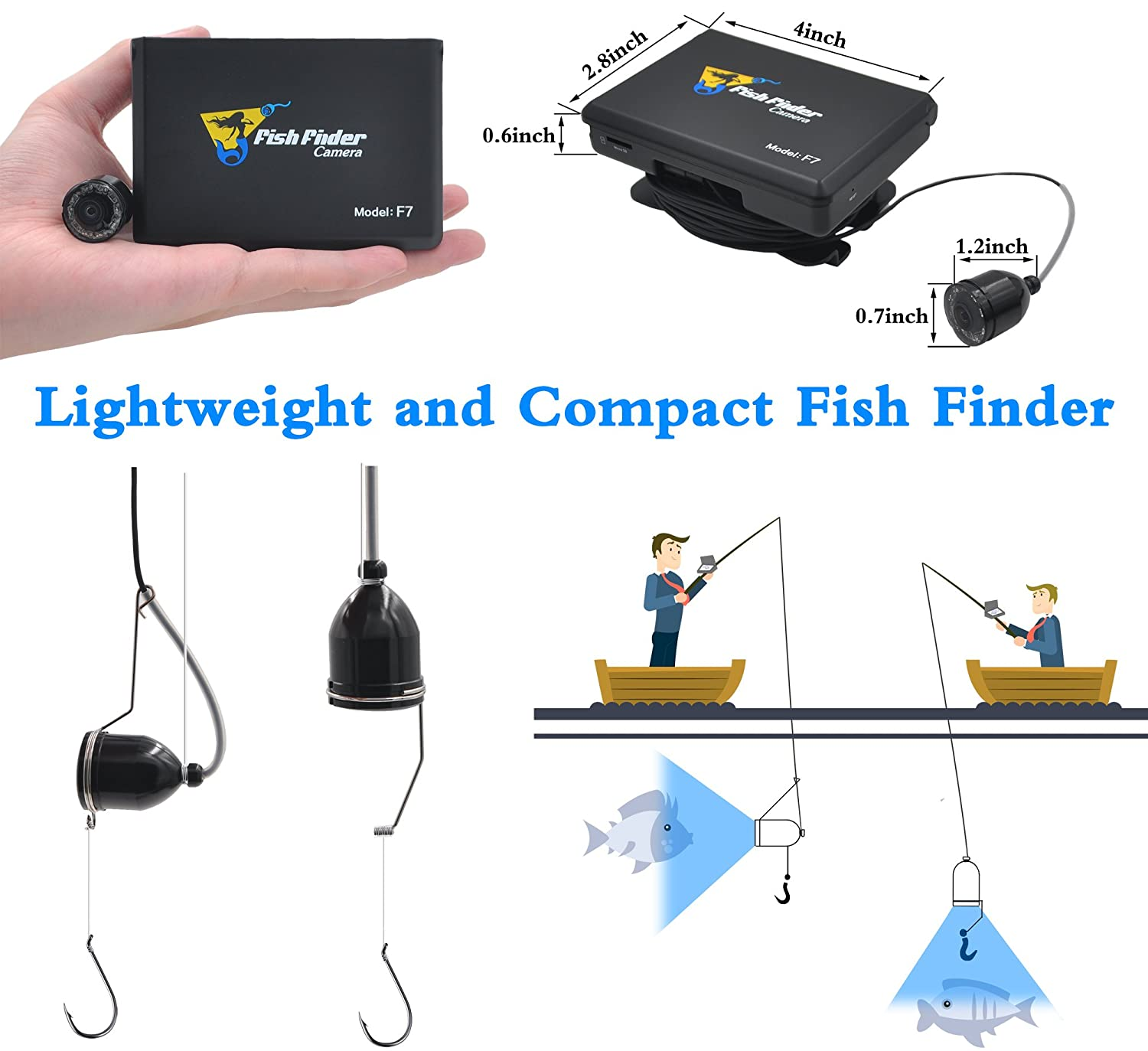 Xikezan Fishing Finder 1000tvl Underwater Fish Video Wiring Diagram For Depth Camera With 35 Color Lcd Screen Infrared Leds 15m Cable F7 Sports Outdoors