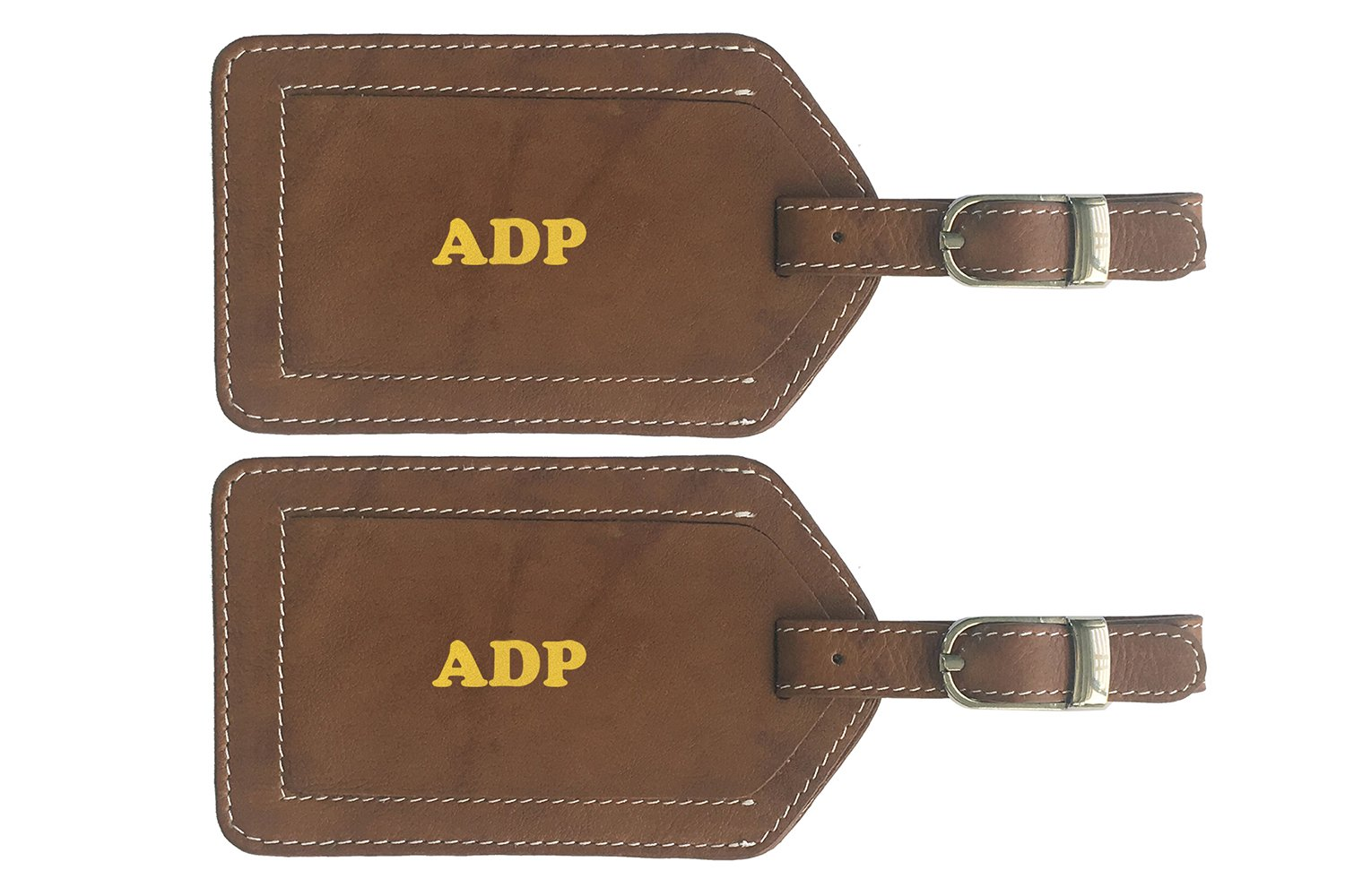 Personalized Monogrammed Antique Saddle Leather Luggage Tags - 2 Pack