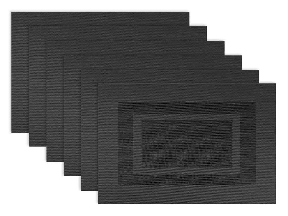 DII Everyday, Easy to Clean Indoor/Outdoor Woven Vinyl Double Border Placemats, 13x18, Black - Set of 6