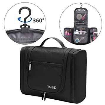 8238f8e4c0 Amazon.com   TaiBid Hanging Toiletry Bag - Large Flat Travel kit Makeup  Cosmetics Organizer for Men and Women
