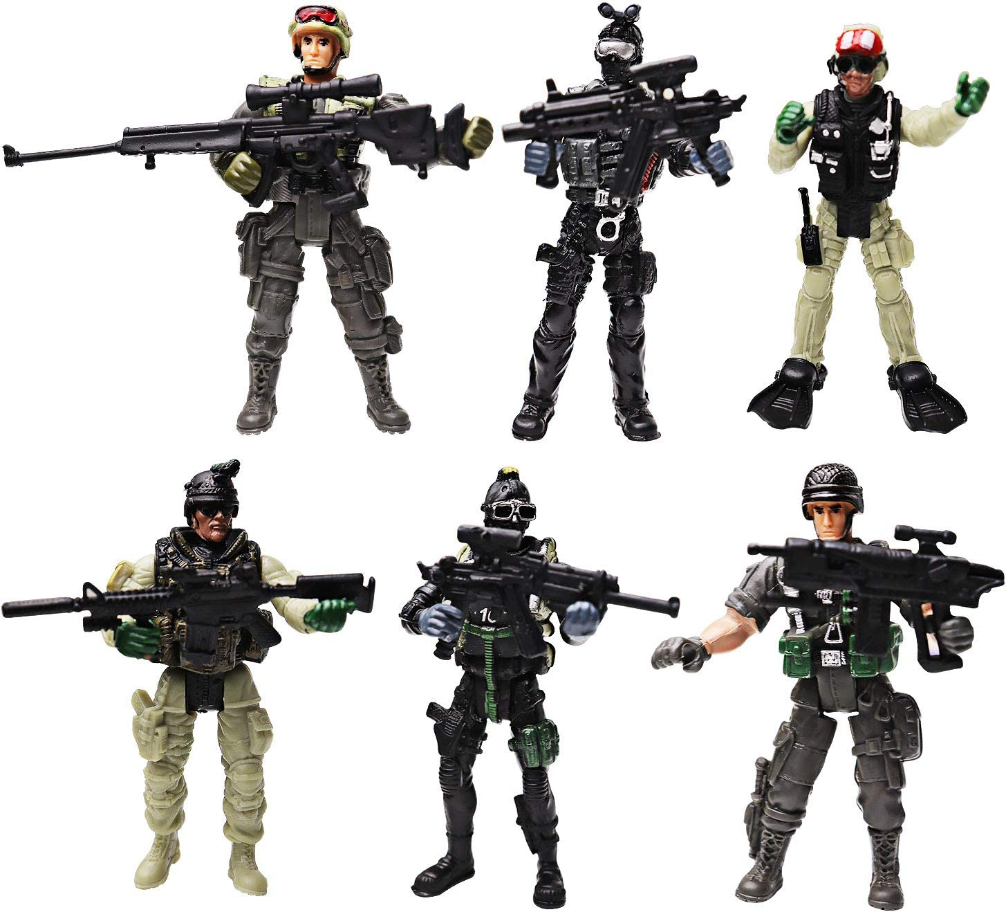Soldier Action Figure Toy Army Men with Weapon Accessories/ SWAT Team Figure Military Playset for Boys Girls Children Kids 3 4 5 6 7 8 9 Years Old,Great as Christmas,Birthday,Set of 6 (SPECIAL FORCES)