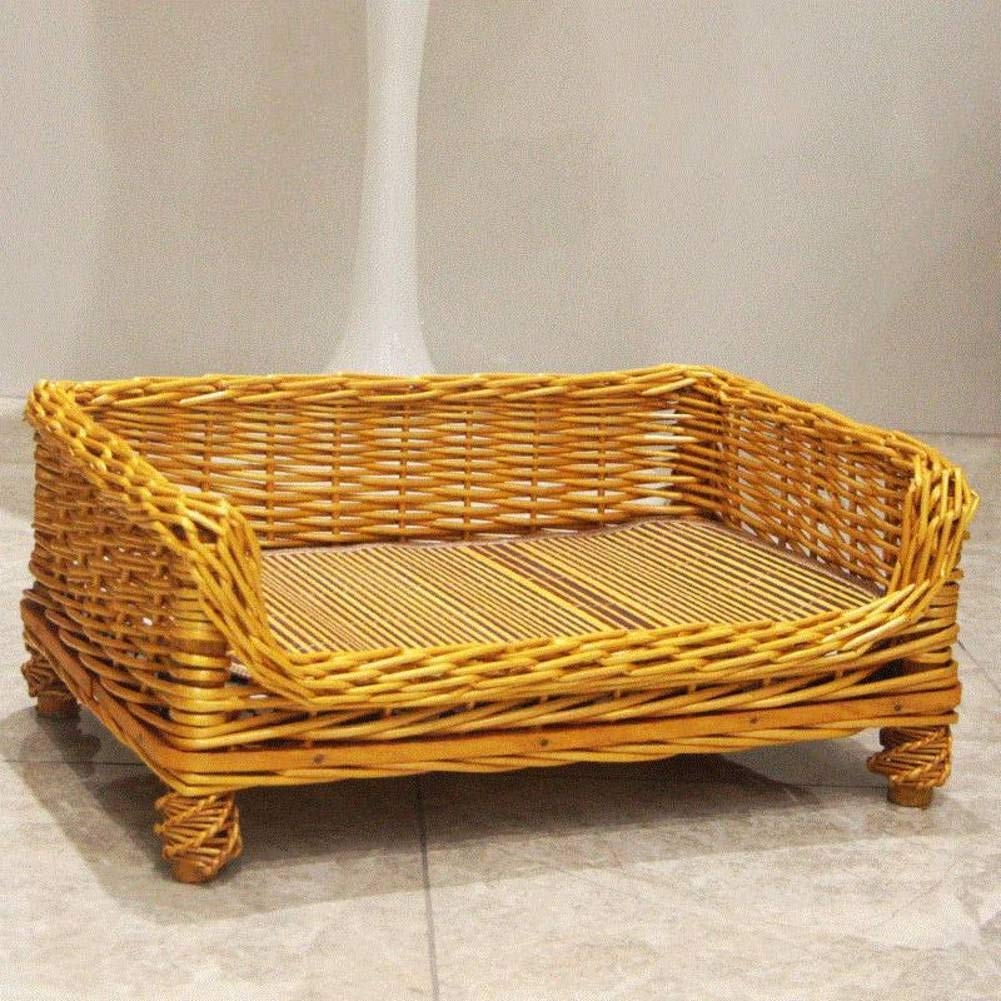 Wicker Dog Bed, Waterproof Durable Rattan Elevated pet Bed, Teddy golden, Small   Medium-H M
