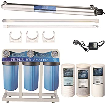 55W UV Ultraviolet Light Sediment /& Carbon Well Water Filter Purifier System with 3//4 Ports  12 GPM UV Sterilizer with Big Blue Size 4.5 x 10 Filters