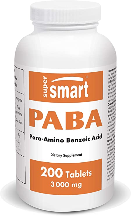 Supersmart - PABA 3000 mg Per Day - Natural Sunscreen Based on para-Amino Benzoic Acid - Help with Sunburn & Skin Diseases as Vitiligo or Scleroderma | Non-GMO & Gluten Free - 200 Tablets