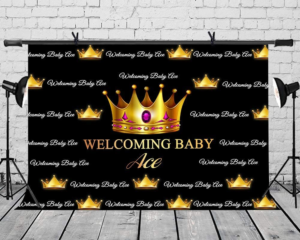 6x4ft Vinyl Custom Background Welcoming Baby Ace Thank You for Your Trust Black and Gold Crown Backdrop for Baby Shower Photography LYZY1255 for Party Decoration Birthday YouTube Videos School Photos