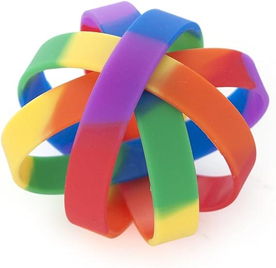 GOGO 10/pcs Rainbow Pride Coque en Silicone en Caoutchouc Bracelets Bracelets drag/ées