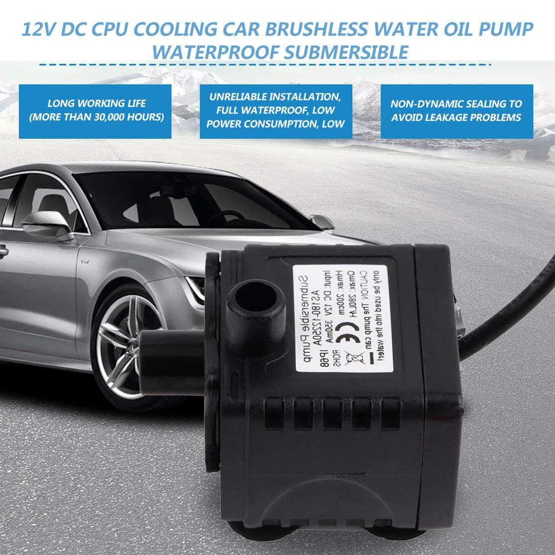 Candyboom 12 V CC CPU de refrigeraci/ón Coche sin escobillas Bomba de Aceite de Agua Sumergible Sumergible CPU Enfriamiento de Coches Lavadora sin escobillas