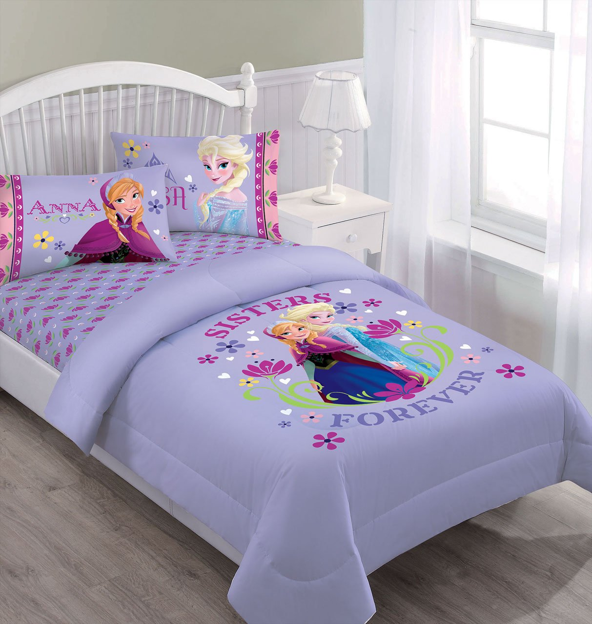 Disney Frozen Nordic Summer Florals Full Comforter, Fitted Sheet