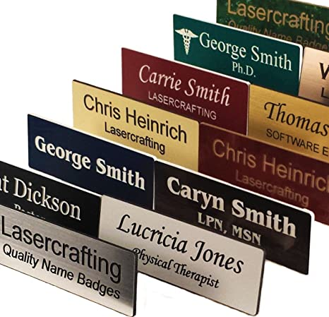 Business Name TagID Badge Custom Engraved, Magnet, Pin, Screws or Tape Size Choices