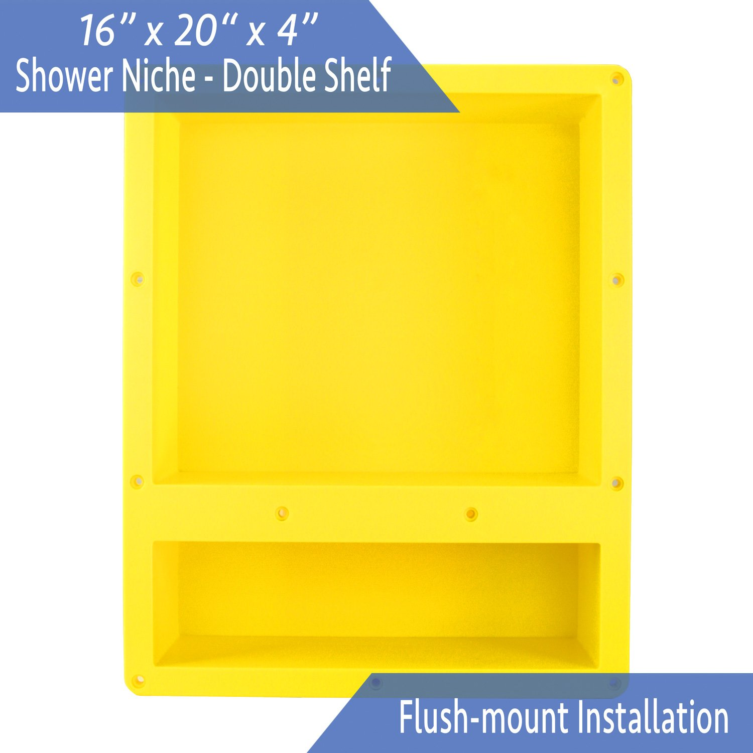 Ready For Tile Waterproof Leak Proof 16'' x 20'' Bathroom Recessed Shower Niche - Double Bathroom Shelf Organizer Storage For Shampoo & Toiletry Storage - Flush Mount Installation