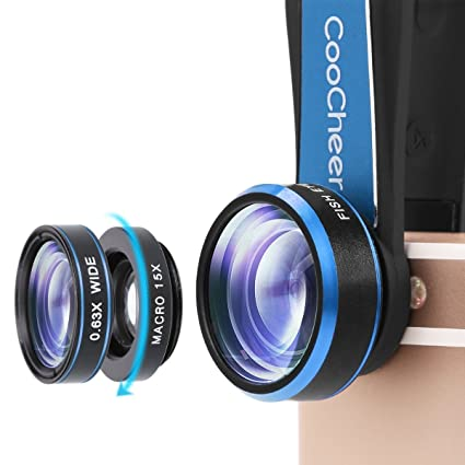 COOCHEER Fisheye Camera Lens 198 Degree Clip 15x Macro Lens /& 0.63x Wide Angle Lens 3 in 1 Kit Clip-On Cell Phone Camera Lenses for iPhone Android,Tablets,Laptops-Red