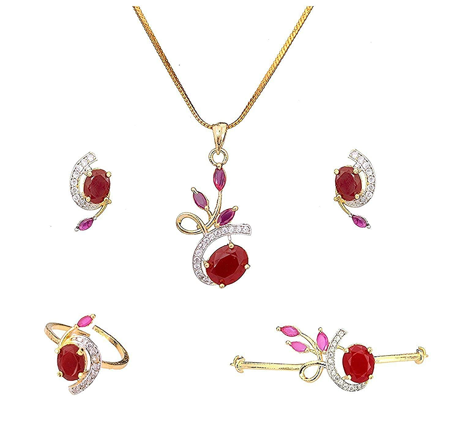 a669f185d432c Cardinal American Diamond Studded Maroon Color Combo Of Pendant Necklace  Set With Earring/Ring/Bracelet For Women/Girls
