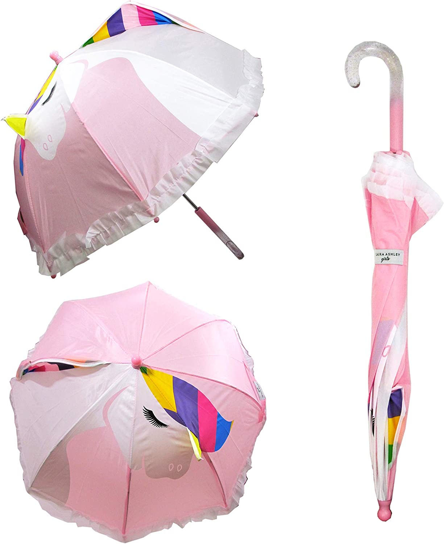 Laura Ashley Kids Clear Umbrella Pop up Lightweight Artwork Umbrella (Rainbow Unicorn)