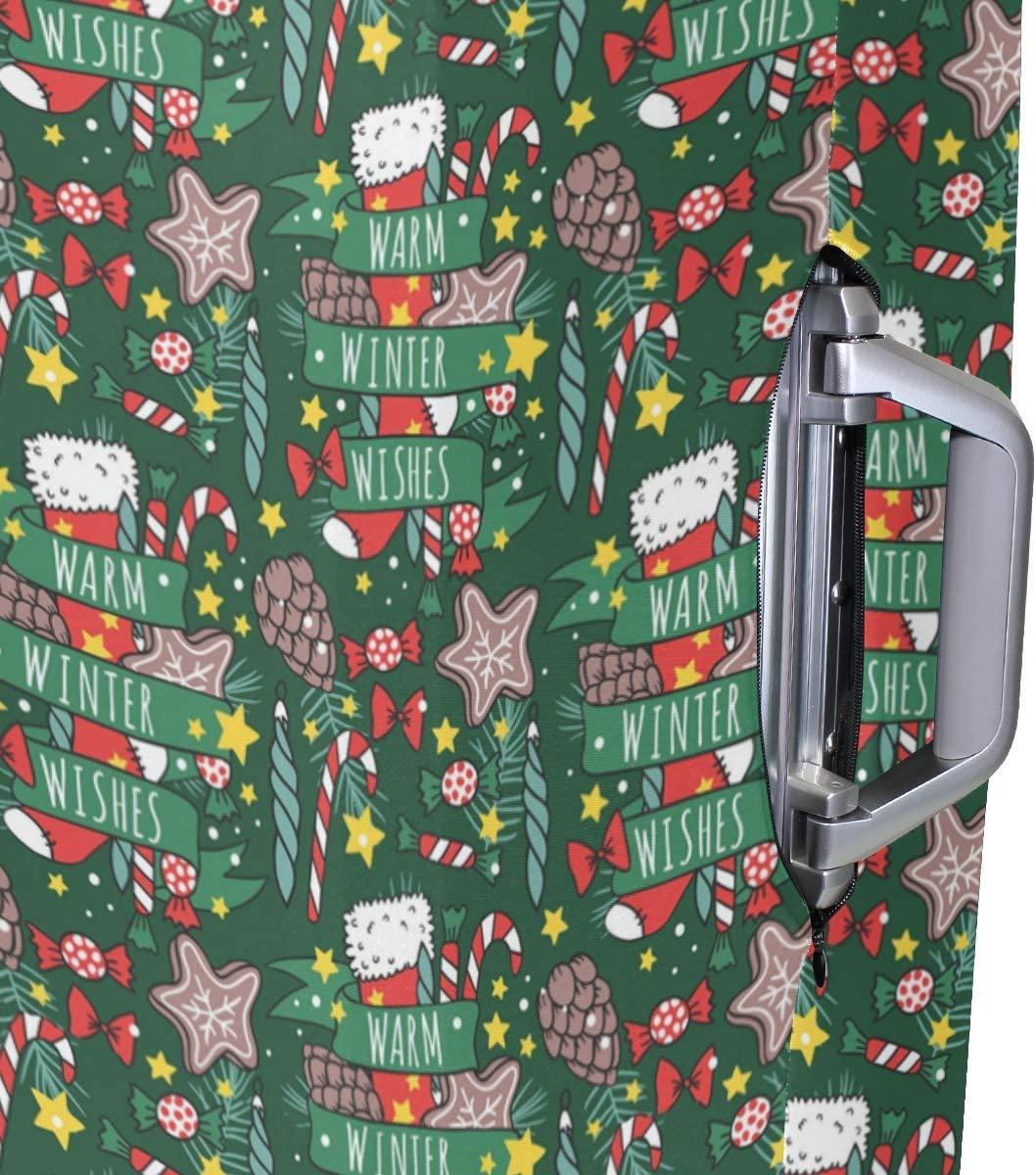 Fashion Travel Christmas Element Green Red Luggage Suitcase Protector Washable Baggage Covers