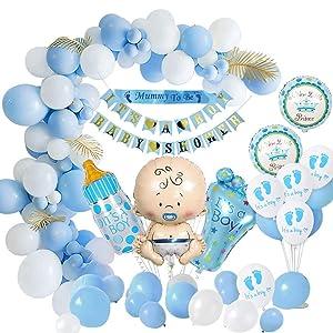 MMTX Baby Shower Decoraciones niños, globos de fiesta para baby shower Chico la momia ser faja, pancartas para baby shower, globo papel aluminio para revelación de género momia para ser (59 piezas)