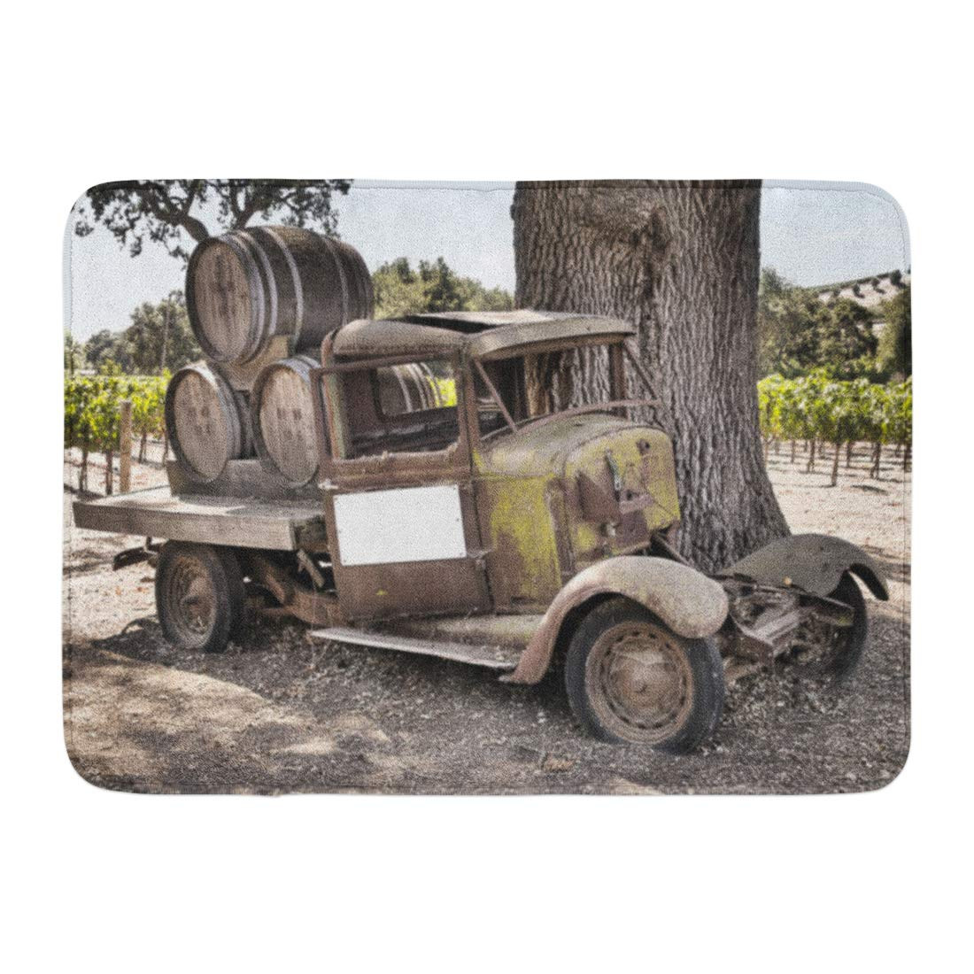 Aabagael Bath Mat America Old Historic Wine Truck in the Back Country of Santa Barbara California Car Vehicle Bathroom Decor Rug 16'' x 24''