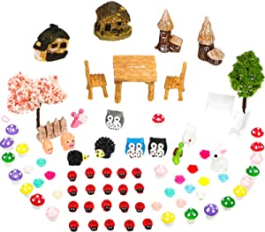 76 Pieces Fairy Miniature Garden Accessories Set Miniature Garden Ornaments Fairy Tale Animals Mini Figurines Micro Landscape Ornaments Kit Dollhouse Ornaments Kits for Terrariums Garden Decor