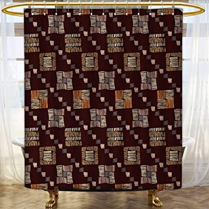 Anhounine Zambia Shower Curtain Collection By Square Shaped Diagonal Tribal Spiritual Pattern Rock Paint Style Boho