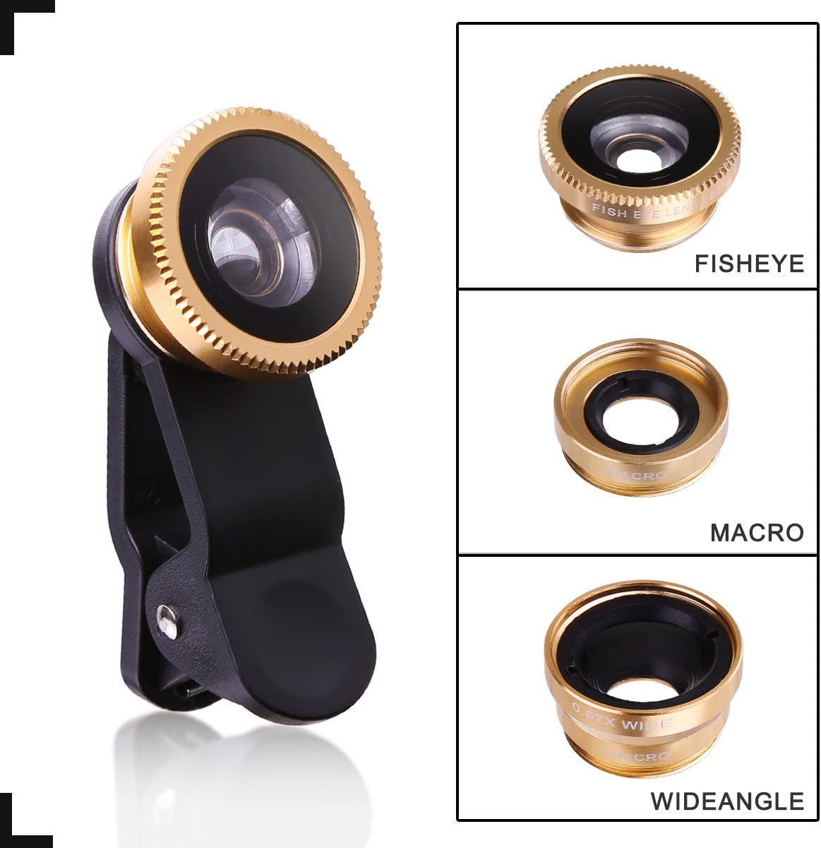 0.67X Wide Angle+ 10X Macro Lens+ Universal Clip for iPhone7 7s 6 6s plus 5 5s 5c 4s ipad Samsung HTC Android 180/°Fish Eye Lens Gold eHizon Universal 3 in 1 Cell Phone Camera Lens Kit