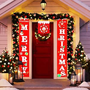 CHICIEVE 3 PCS Merry Christmas Banner Christmas Porch Fireplace Wall Hanging Signs Flag for Xmas Decor Outdoor Indoor Holiday Party Decor