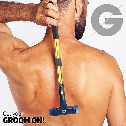 Groomarang espalda y cuerpo dispositivo de eliminación de cabello - de múltiples funciones y retractable maquinilla