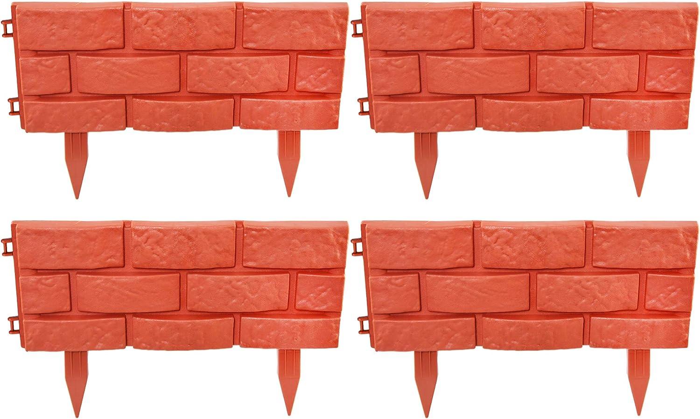 "Home-X Brick Looking Garden Border, Decorative Lawn Edging Blocks, Patio Border or Garden Walkway Border, PP Terracotta Brick Pattern, Set of 4, 17"" L x 7"" W x 1"" H, Terracotta"