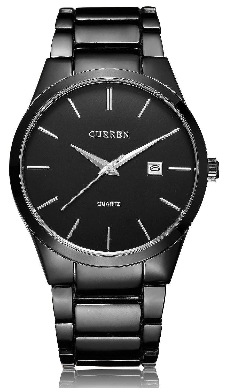 Fanmis de lujo para hombre relojes de cuarzo Big esfera automático FECHA negro reloj correa de acero inoxidable: Amazon.es: Relojes