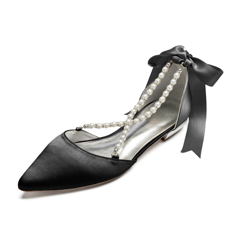 ecb086ca4ba MarHermoso Womens Pointed Toe Cross Strap Pealrs Ribbon Tie Comfort Wedding  Bridal Shoes