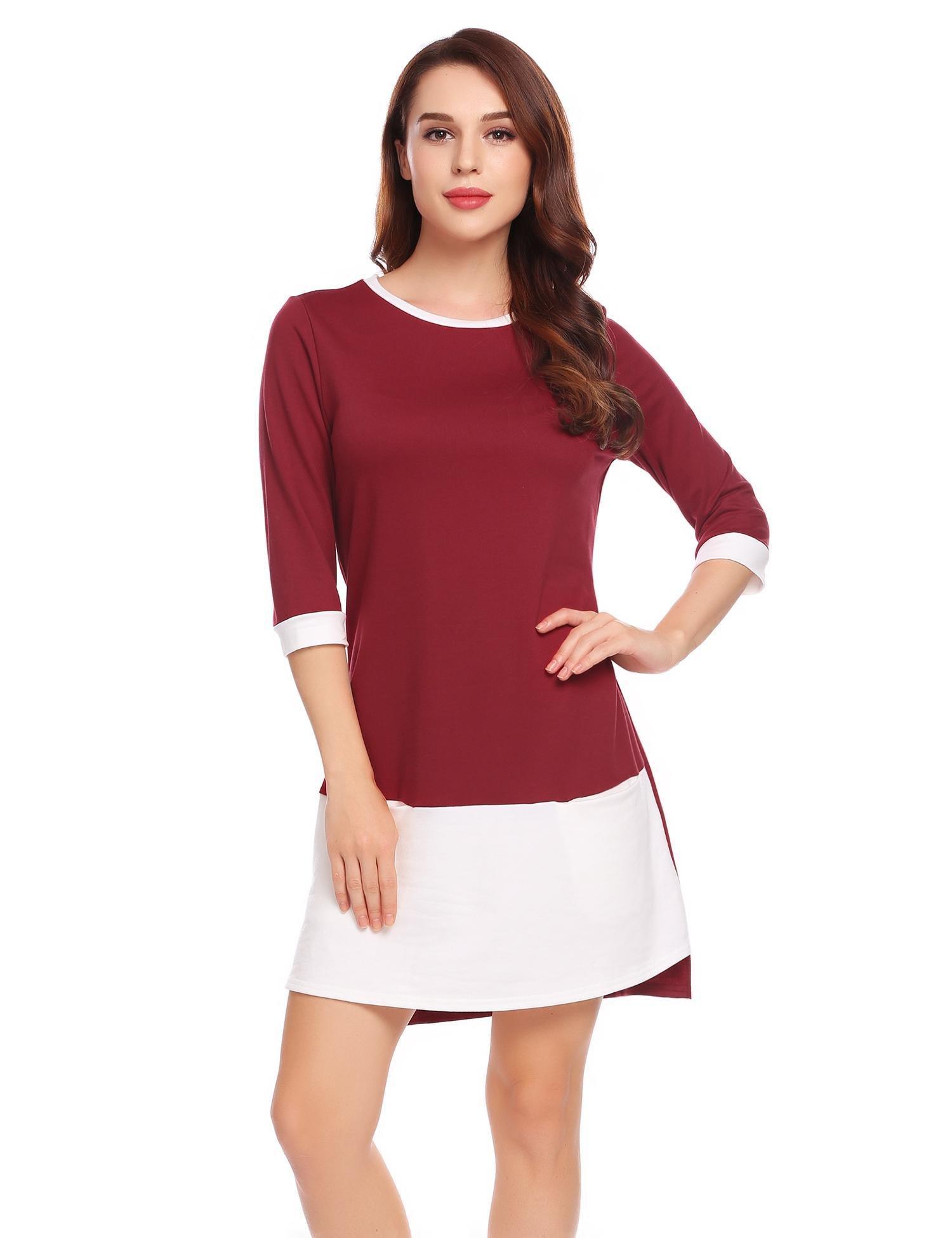 Unibelle Women's Patchwork Short Sleeve Shift Tunic Dress(Wine Red,L)