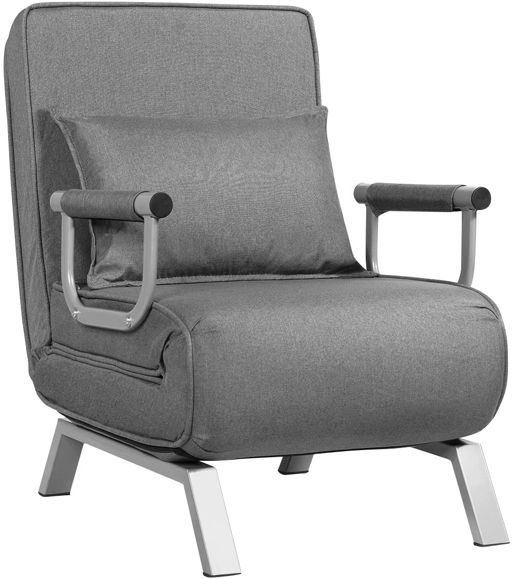Giantex Convertible Sofa Bed Sleeper Chair, 5 Position Adjustable Backrest, Folding Arm Chair Sleeper w Pillow, Upholstered Seat, Leisure Chaise Lounge Couch for Home Office Gray