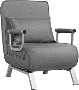 Giantex Convertible Sofa Bed Sleeper Chair, 5 Position Adjustable Backrest, Folding Arm Chair Sleeper w/Pillow, Upholstered Seat, Leisure Chaise Lounge Couch for Home Office (Gray)
