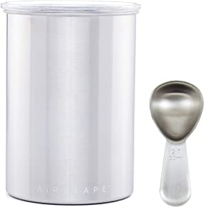 Airscape Coffee and Food Storage Canister with Scoop - Patented Airtight Lid Preserve Food Freshness, Stainless Steel, 7