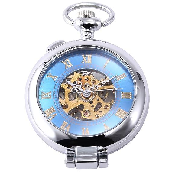 EASTPOLE WPK130 - Reloj Bolsillo Mecš¢nico, Caja Plateado: Amazon.es: Relojes