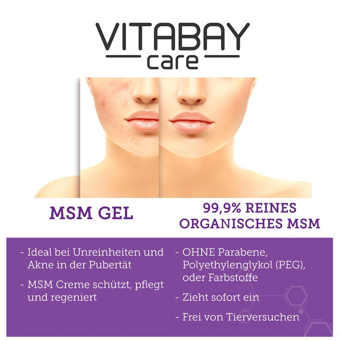 MSM de gel Sensitive para de cuerpo y cuidado facial con puro MSM | Vegan, sin silicona | dermatológicamente Probado | Ideal en impurezas, ...