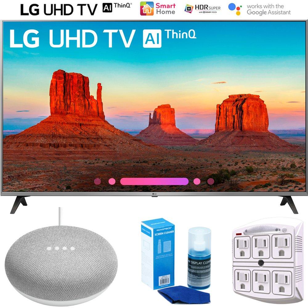 LG 55UK7700PUD 55″ Class 4K HDR Smart LED AI UHD TV w/ThinQ (2018) + Google Home Mini – Chalk + LED TV Screen Cleaner + SurgePro 6-Outlet Surge Adapter w/Night Light