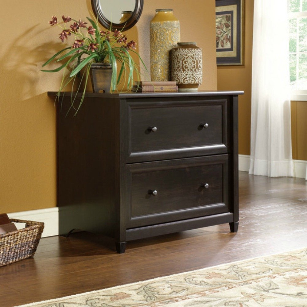 Country Two Drawer Lateral Filing Cabinet - Crafted in Practical Design - Two Spacious Drawers with Two Metal Knobs - Patented Interlocking Safety Mechanism - Space-saving Design (Estate Black) Sauder