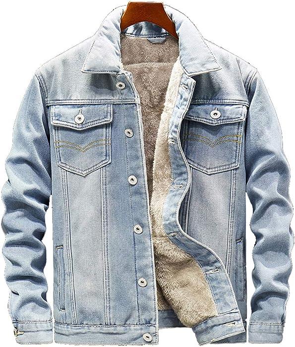 Herren Wintermantel Jeans Jacke Mäntel Denim Jeansjacke Winter Denim Jacket Gefütterte Revers Slim Fit Winterjacke Parka Übergangsjacke Hoodie Warm